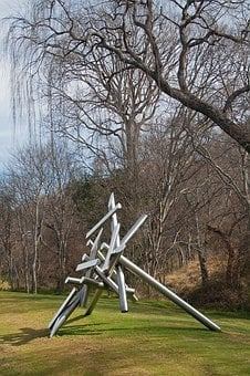 Sculpture, Metal, Poles, Pipes, Shiny, Structure