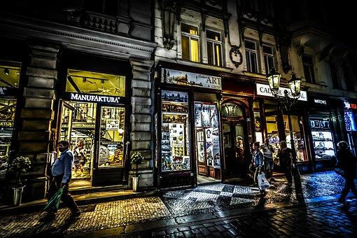 Prague, Czech, Shop, Store, Evening, Night, Nighttime
