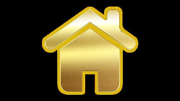 Icon, House, Home, Button, Logo, Gold, Symbol