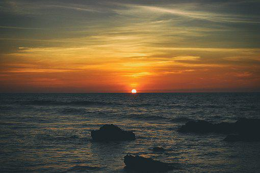 Sun, Beach, Sunset, Sunrise, Sea, Vacation, Summer