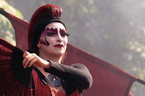 Attitude, Red, Woman, Art, Masquerade
