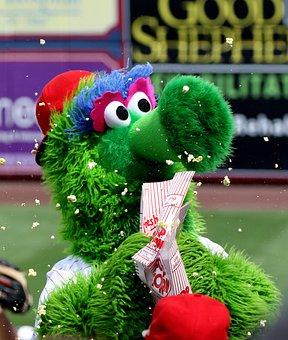 Mascot, Phillie Phanatic, Philies, Popcorn, Baseball