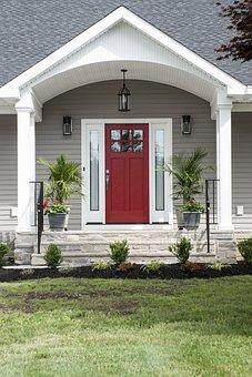 Red Door, Porch, Exterior, Home, Door, House, Design