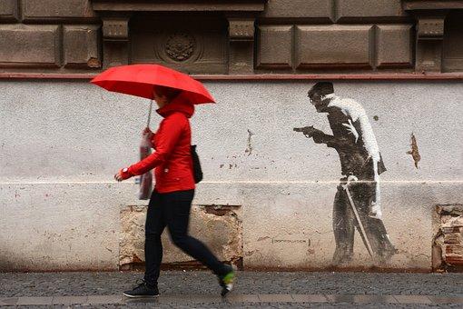 Hradec Králové, Graffiti, Man, Woman, Robbery, Painting
