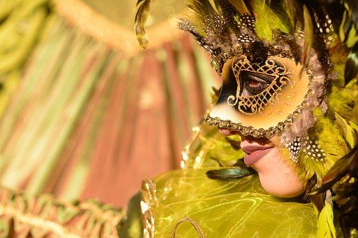 Venice, Italy, Celebration, Mask, Gondolas, Green