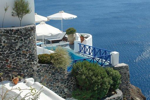 Pool, Sea, Greece, Heaven, Top, World, Summer, Holiday