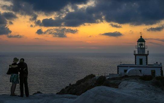 Santorini, Lighthouse, Sunset, Greece, Island, Sea
