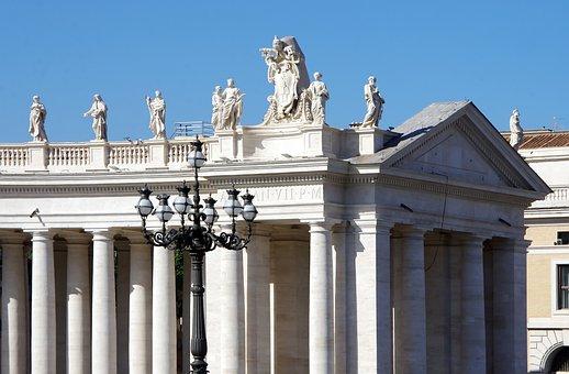 Rome, Vatican, Place, St-pierre, Colonnade, Statues