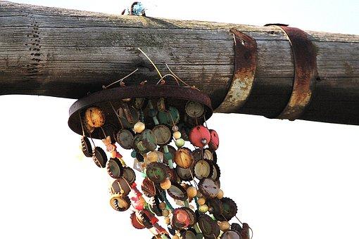 Pile, Wood, Windspiel, Bottle Caps, Wind, Colorful