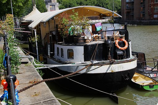 Barge Boat, Moored, Water, Canal, England, Waterway