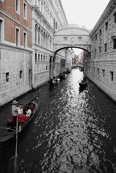 Venice, Italy, Bridge Of Sighs, Gondolas, Channel, Boot