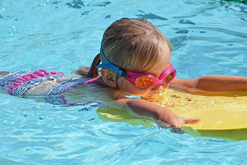 Young Swimmer, Child, Kick Board, Swimming, Activity