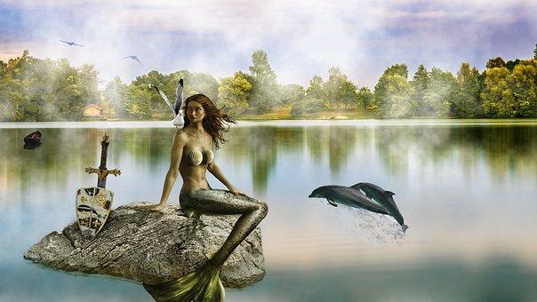 Composition, Composing, Art, Water, Lake, Mermaid
