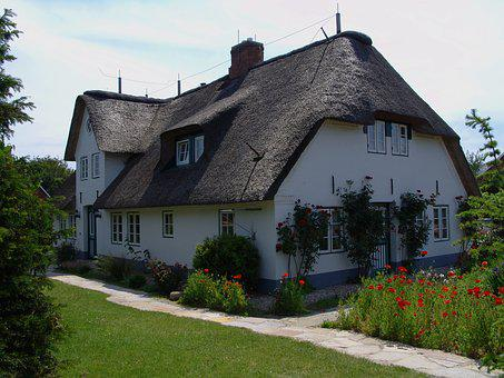 Friesenhaus, Thatched Roof, Föhr, Northern Germany