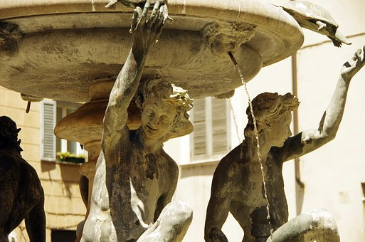Italy, Rome, Fountain, Water, Nymphs, Sculpture