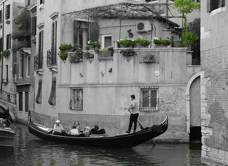 Venice, Italy, Gondolas, Channel, Boot