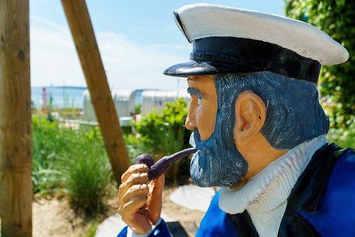 Captain, Eckernförde, Pipe, Figure, Face, Carved, Man