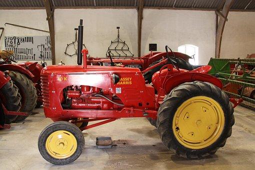 Red, Tractor, Museum, Machinery, Denmark, Langeland
