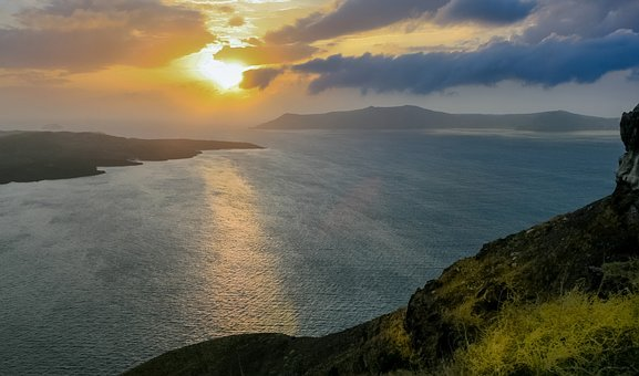 Santorini, Sunset, Greece, Island, Sea, Mediterranean