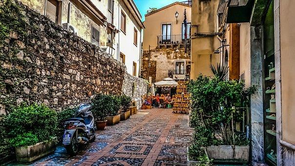 Sicily, Meal, Travel, Back, Alley, Cafe, Outdoor