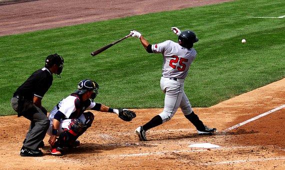 Baseball, Batter, Catcher, Umpire, Bat, Uniform, Swing