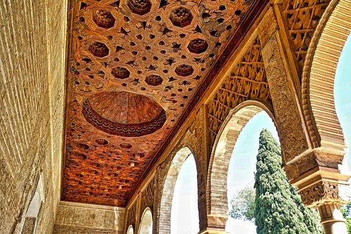 Alhambra, Ceiling, Arches, Moorish, Decoration