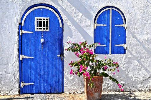 Bodrum, House, The Door, Blue, Pink Flower, Blue Door