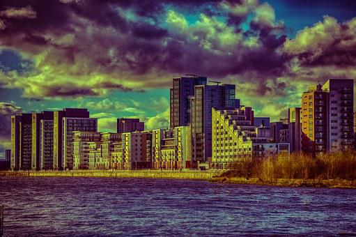 Glasgow, Clyde, River, Buildings, Bank, Hdr, Houses
