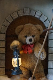 Teddy, Lamp, Guard, Door, Goal, Teddy Bear, Soft Toy