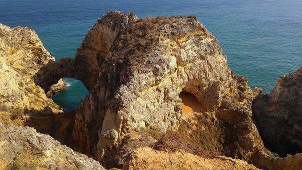 Portugal, Lagos, Cliffs, Ark, Ocean