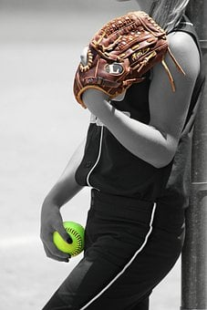 Girl, Player, Ball, Glove, Recreation, Game, Sports