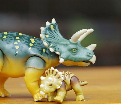 Dino, Triceraptos, Dinosaur, Replica, Mother And Child