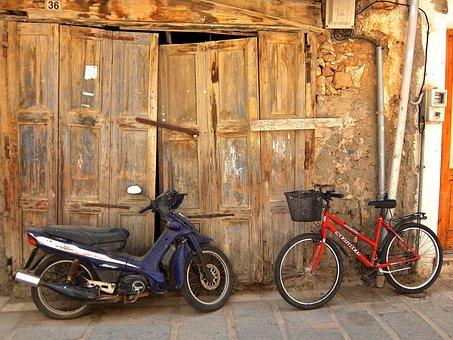 Moped, Roller, Bike, Barn, Goal, Scale, Motor Scooter