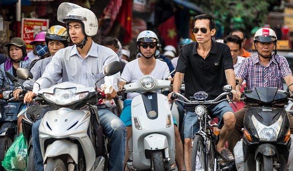 Scooter, Bicycle, Traffic, Helmet, Men, Vietnam, Hanoi