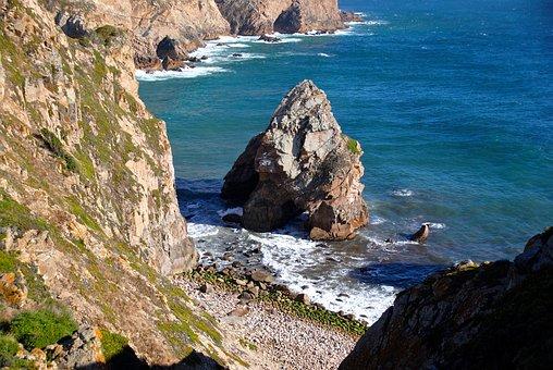 Cliffs, Rock, Sea, Surf, Capo-rocca, Atlantic, Portugal