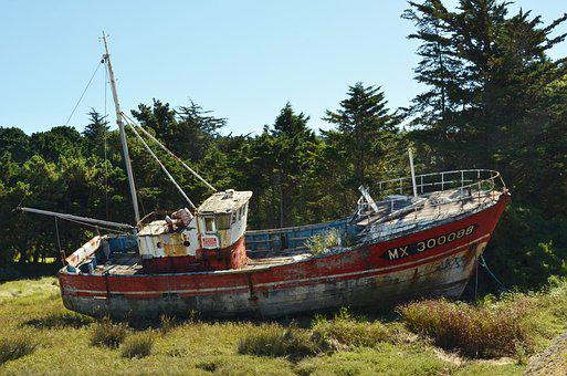 Boat, Ship, Wreck, Ship Wreck, Rust, Neglect, Dry