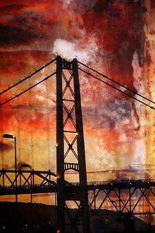 Hercílio Luz Bridge, Bridge, Landscape, Sunset, Floripa