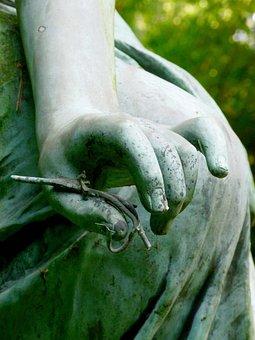 Hand, Finger, Human Bronzestatue, Fig, Cemetery, Symbol