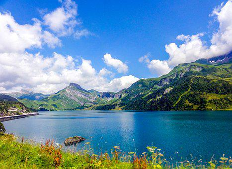 Lake, Blue Lake, Alps, Barage, Lake Roseland
