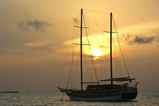 Mar, By Sunsets, Boat, Maldives, Quiet, Horizon, Nature