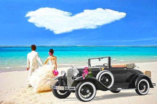 Oldtimer, Bride And Groom, Clouds Of Heart, Honeymoon
