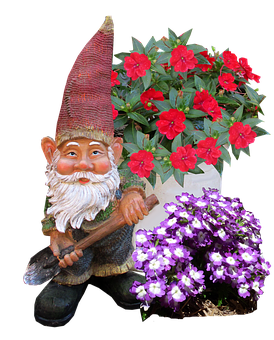 Gnome, Flowers, Cut, Out