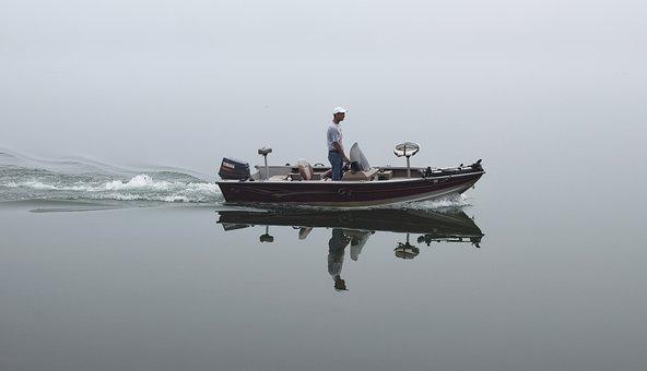 Foggy Morning Fisherman, Lake, Nature, Fog, Fisherman