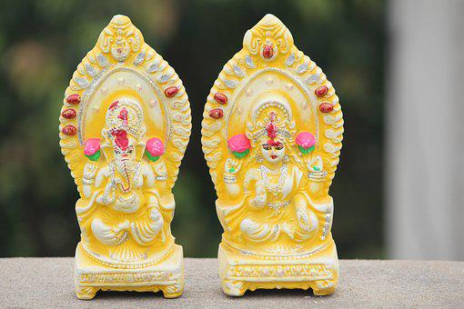 Ganesha, Lakshmi, God, Goddess, Idols, Religion