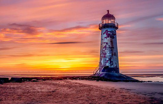 Lighthouse, Talacre Lighthouse, Irish Sea, Beach