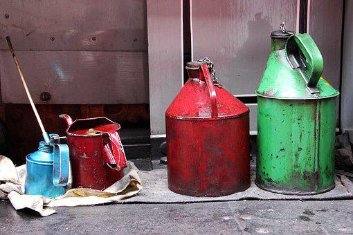 Oil, Cans, Container, Industry, Metallic, Handle