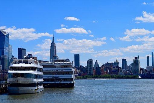 Cruise Ship, New York City, Manhattan, Skyline, Harbor