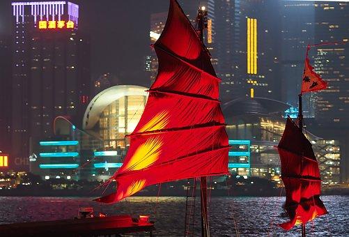 Hong Kong, Port, Asia, Big City, Boot, Night Photograph