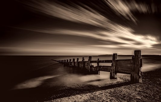 Sunset, Dusk, Black And White, Sepia, Beautiful, Pier
