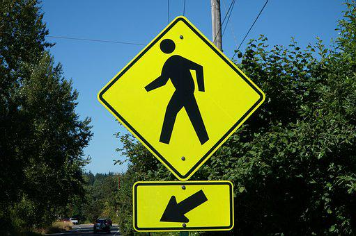 Pedestrian, Crossing, Sign, Road, Traffic, Symbol